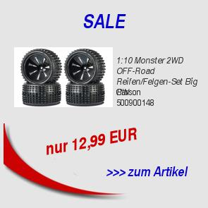 1:10 Monster 2WD OFF-Road Reifen/Felgen-Set Big PIN 12,99 EUR